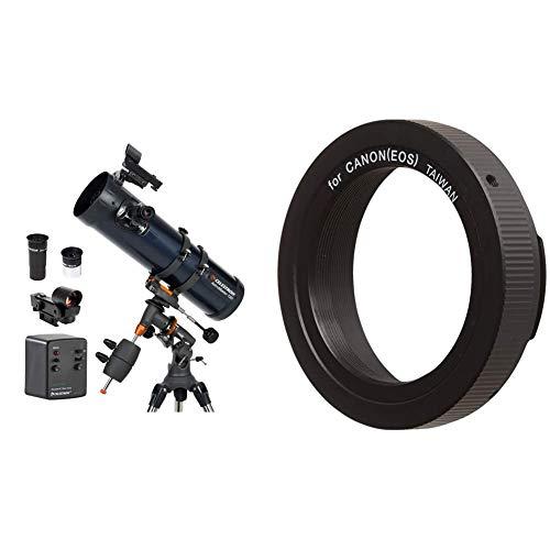 Celestron Astromaster 130EQ-MD, Telescopio, Massimo ingrandimento utile: 307x [Importato da Regno Unito] & Anello T2 per Canon EOS, Nero