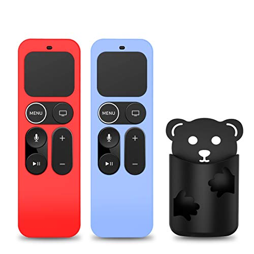 [2 Pack] Protective Case for Apple TV 4K 5th, 4th Gen Remote, Anti-Slip Shockproof Silicone Cover for Apple TV Siri Remote 4K, 4th/5th Gen -with Remote Holder (Red+Glow Blue)