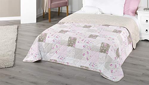 Tagesdecke XXL Allzweckdecke ca. 220x240 Patchwork Landhaus Sofa Bettüberwurf (Blume Rot)