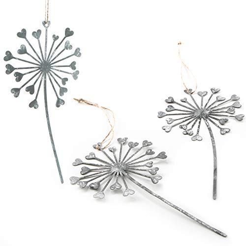 Logbuch-Verlag 3 große Pusteblumen Anhänger aus Metall 25 cm mit Herzen - Deko Geschenkanhänger Silber weiß Shabby chic