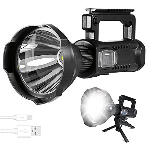 Potente Linterna Recargable LED, Recargable 8000 Lúmenes Super Brillante Reflector,LED Spotlight Linterna antorcha Linterna para Camping Reparación de Automóviles Ciclismo Actividades Exteriores