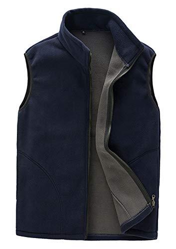 Panegy Veste Polaire Chaud Gilet sans Manche Manteau à Zippé avec Poche Outwear Randonnée Ski Sport Voyage Bleu Marine Étiquette L