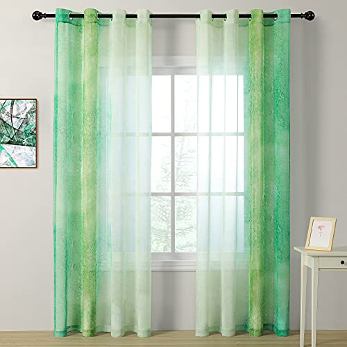"""MYSKY HOME Green Linear Gradient Sheer Curtain for Living Room Grommet Top Teal Ombre Sheer Curtains 84 Inches Long Decorative Window Curtain Panels(Green, Set of 2, 52"""" x 84"""")"""