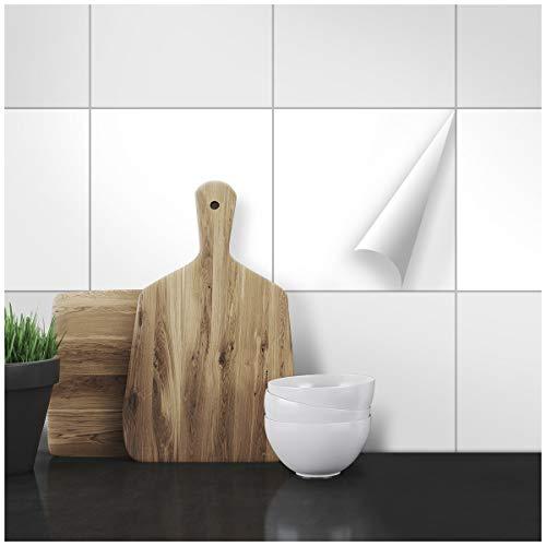 Wandkings Fliesenaufkleber - Wähle eine Farbe & Größe - Weiß Seidenmatt - 20 x 20 cm - 50 Stück für Fliesen in Küche, Bad & mehr