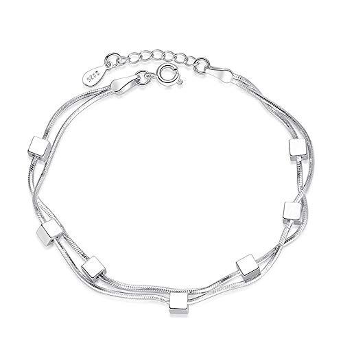 ZWMM Damenmode Fenster Magic Square Silber Armband Europa Und Amerika Süße Doppelschlangenkette Fünfzackigen Stern Armband