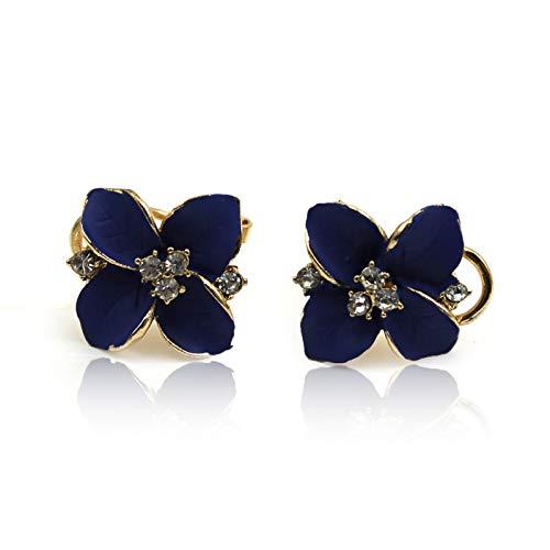 1par de pendientes de Doyeemei, de flor, para mujer, diamantes de imitación, pendientes de tuerca
