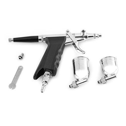 HEEPDD Multifunctionele airbrush-kit, 0,3 mm mondstuk-toevoer-spuitpistool trigger-airbrush met 2 bekers voor het decoreren van tattoo-taarten voor beginners