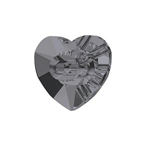 スワロフスキー (R) 正規品 クリスタル ボタン ハート型 オーロラ加工 24個入り 12×10.5mm #001SIN シルバーナイト 501753224
