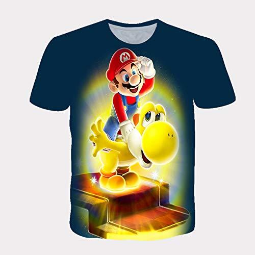 JWJW Mario - Camiseta de manga corta unisex 3D estampada informal para niño