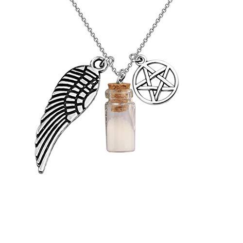 KEYCHIN Supernatural Inspired Jewelry SPN Jewelry Supernatural Evil Power Salt Bottle Necklace Supernatural Fans Sam Dean Winchester Gift (SPN Salt Bottle Necklace)