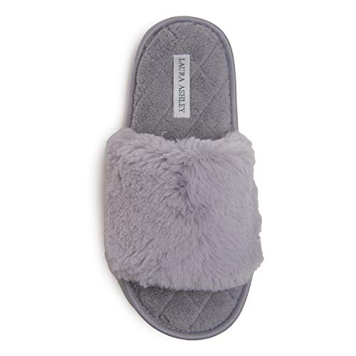 Laura Ashley Ladies Faux Rabbit Plush One Band Slippers, Open Toe Indoor Outdoor House Slippers, Grey, Large
