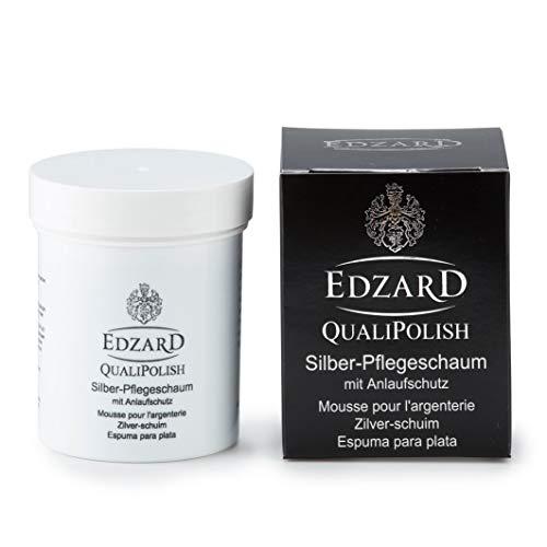 EDZARD QualiPolish® Silber-Pflegeschaum mit Anlaufschutz, Silberpolitur, Pflegeschaum-Paste, inkl. Schwamm, Inhalt 200 Gramm (auch für Schmuckreinigung)