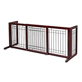 Bonnlo Freestanding Pet Gate Adjustable from 40″to 71″ Sturdy Solid Wood Dog Gate for Indoor Stairs, Wide Openings, Doorway (Cherry)