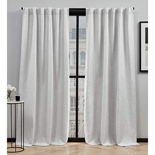 Elle Decor Bianca Room Darkening Back Tab Rod Pocket Curtain Panel Pair, 54x96, Silver