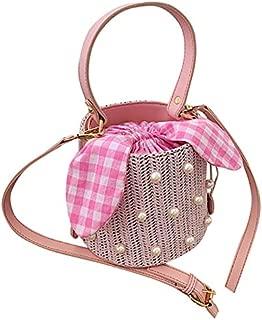 TOOGOO Summer Round Rattan Handmade Bag Bohemian Leisure Straw Bag Bucket Knitting Shoulder Crossbody Beads Beach Bag Khaki