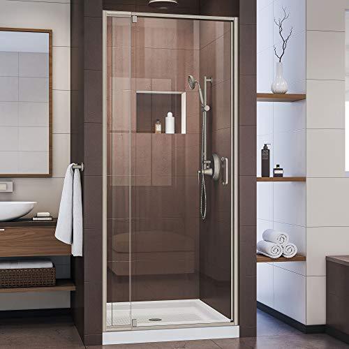 DreamLine Flex 32-36 in. W x 72 in. H Semi-Frameless Pivot Shower Door in Brushed Nickel, SHDR-22327200-04
