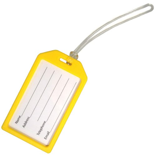 """Yellow Rigid Plastic Luggage Tag Holder with 6"""" Worm Loop by Specialist ID, Sold Individually"""