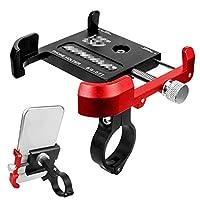 自転車 スマホ ホルダー アルミニウム合金自転車携帯電話ホルダーマウンテンバイクロード自転車用に360°回転調整可能 ナビ 携帯 固定用 に適用 (Size:Free Size; Color:Black+red)
