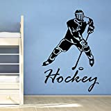 Jsnzff Hockey sobre Hielo calcomanía de Pared Jugador de Hockey Deportes Gimnasio decoración de la Pared niño habitación calcomanía Arte de la Pared Cartel Mural 63x90 cm
