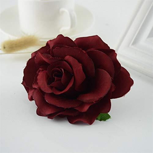 Flores artificiales para el hogar, 10 unidades, rosas de seda, para boda, coche, sala de estar, decoración artesanal, color vino tinto