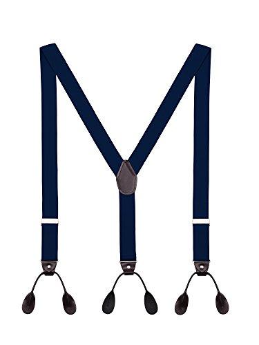 Tirantes Hombre Y-Forma De Botón Ajustable Extra Fuerte Elástico De 3.5cm Ancho 6 Ojales Accesorio Azul marino