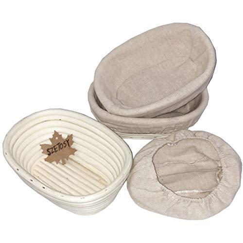 Banneton - Cesta a prueba de pan, 3 unidades, 10 pulgadas, cesta natural de ratán para demostración de pan, masa, pizza y masa de repostería 21x15x8cm Oval