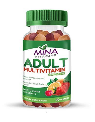 Halal Gummy Adult Multivitamins by Mina Vitamins - 11 Essential Vitamins and Minerals with Antioxidants - Vegetarian, Non-GMO, Gluten Free (90 Count)