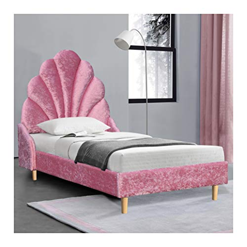 Cherry Tree Furniture ARIEL Pink Crushed Velvet Upholstered Princess Bed with Scalloped Headboard (3FT Single)