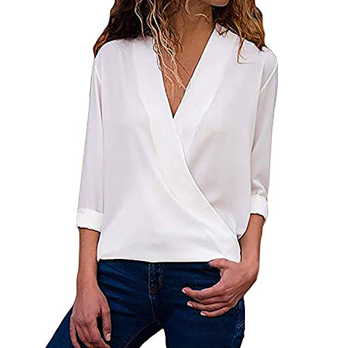 OSYARD Damen Sexy Farbe V-Ausschnitt Sweatshirt Plus Größe Lose, Frauen Casual Wrap V-Ausschnitt Roll Up Langarm Solid Blusen Shirt Tops Tunika Pullover (2XL, Weiß)