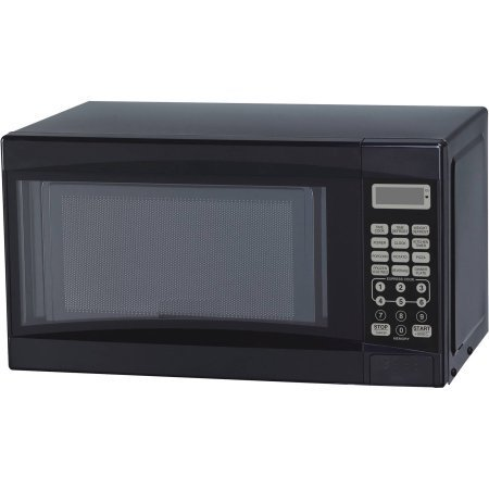 Mainstays 0.7 cu ft Microwave Oven, Black, Time Cook, Time Defrost, Weight Defrost, LED Display, Kitchen Timer by Mainstay