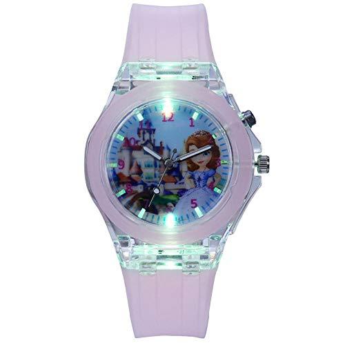 SANDA Relojes para Niña,Alumnos Luminoso Lindo Reloj Niños Cartón Mano Mano Anti-Fall Baby Boy Chica con Lámpara Juguete Electrónico Reloj-Rosa