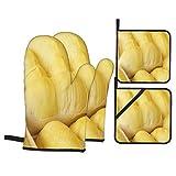 Guante de Horno de 4 Piezas y agarradera,Cerrar Durian Flesh Oro,Guantes Aptos para Alimentos Antideslizantes Impermeables y Resistentes al Calor para microondas cocinar y Hornear en la Cocina