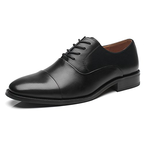La Milano Men's Oxfords Classic Modern Round Captoe Shoes (10.5, Regno-1-black)