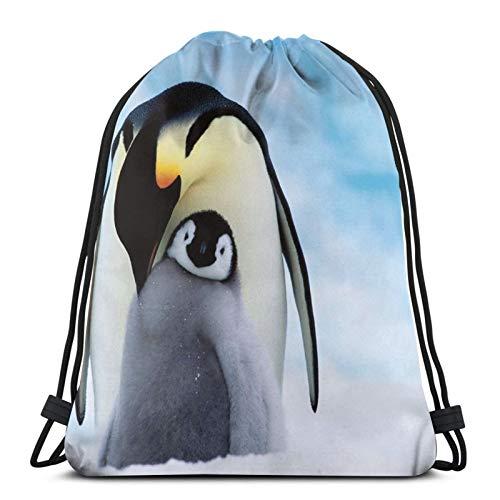 QUEMIN Kordelzug Rucksack, für Kinder Unisex Erwachsene, Beach Park, Reisen, String Sack Bag Penguin Island