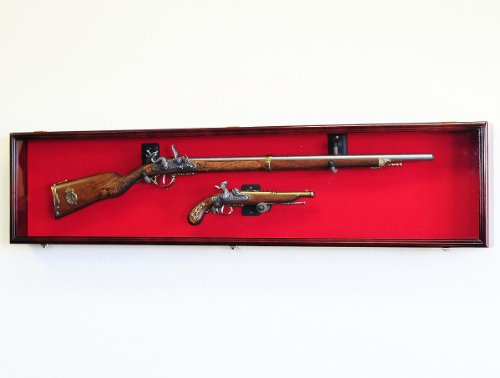 Long Rifle/Musket Gun Display Case Wall Rack Cabinet w/UV Protection -Lockable (Cherry)