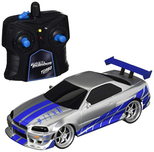 Fast & Furious 1:24 2002 Nissan GT-R R34 Remote Control Car RC with 2.4GHz, Toys for Kids and Adults