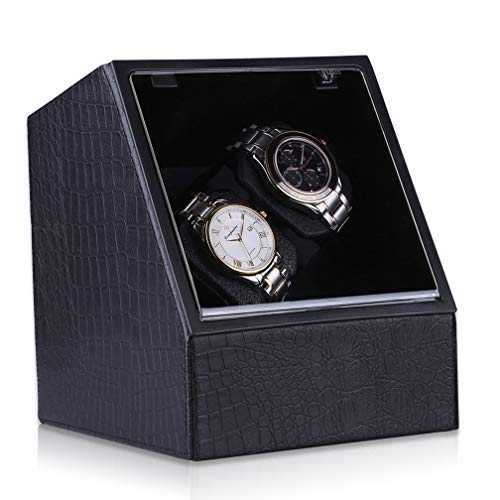 CRITIRON 2 Automatic Watch Winder PU Leather Rotating Dual Watches Storage Display Case Box