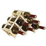 Estante para Vino de Madera, Soporte para Botella de Vino Plegable, Botellero Horizontal, para el Organizador Casero de Los Gabinetes de la Barra de la Cocina, Puede Poner 6 Botellas de Vino