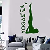 ganlanshu Femme Yoga Pose Studio Decal Papillon Decal sur Mur Amovible Méditation Mur Autocollant Salon Mural 75cmx122cm