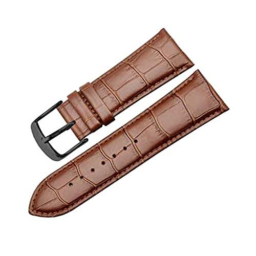 24/26/28/30mm hombres del cuero genuino correa de reloj pulsera de la pulsera de acero inoxidable Hebilla de reloj de cuarzo analógica, 24mm