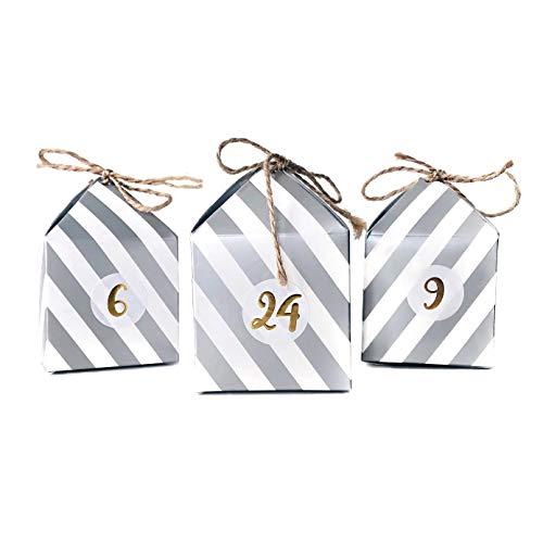 Cavore Selbstgemachter Adventskalender DIY zum Befüllen – Selfmade Set mit 24 Boxen, Zahlen-Aufkleber und Schnüre Silber/weiß – Weihnachten 2019