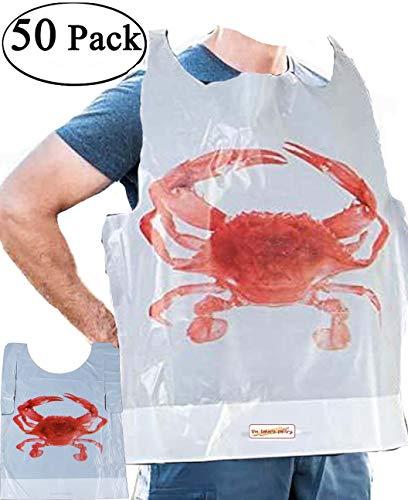 Crab Bibs Adult Size Disposable Bibs Adult Poly Bibs Plastic Seafood Bibs Size: 20 L x 15-1/2 W 50 Crab Bibs Seafood Bibs Disposable Adult