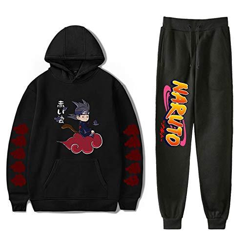 YZJYB Naruto 3D Uchiha Itachi Chandal Encapuchado Sudadera + Pantalones con Cordón Ropa Anime con Bolsillos De Jogging para Hombre 2 Piezas De Traje Deportivo,XX~Large