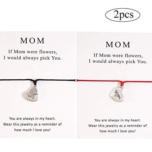 2pcs Conjunto de Pulseras de Madre e Hija Pulsera de Cuerda de cordón a Juego Regalo de mamá a Hija Relación Joyería de Deseo Hecha a Mano para Mujeres Niñas