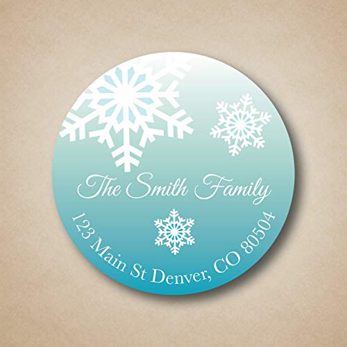 uniquepig Personalized Snowflake Christmas Envelop Seals Stickers Round Holiday Mail Stickers Gifts Bag Tags Labels