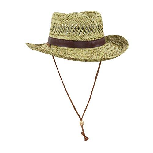 Mens Natural Straw Flat Top Gambler Sun Hat (Brown Trim)