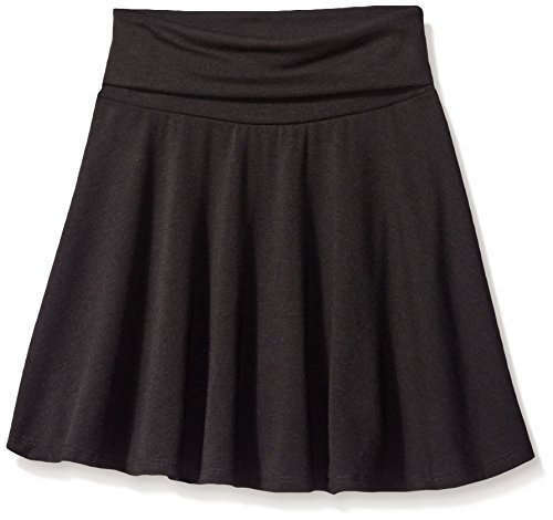 Amy Byer Girls' Size 7-16 Knit Skater Skirt with Foldover Waist, Black, Large