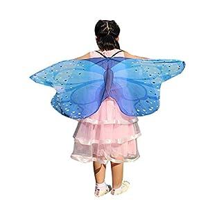 Child Kids Boys Girls Bohemian Butterfly Print Shawl Pashmina Costume Accessory Blue