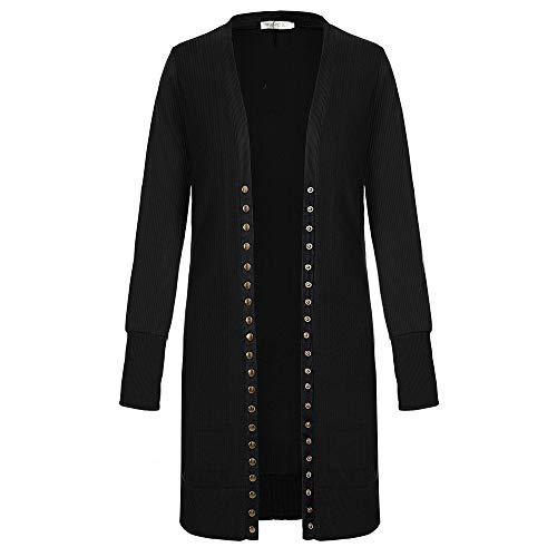 SELENECHEN Damen Cardigan Langarm Strickjacke Casual Cardigan Knopf V-Ausschnitt Outwear Mantel Herbst Winter (Schwarz, L)