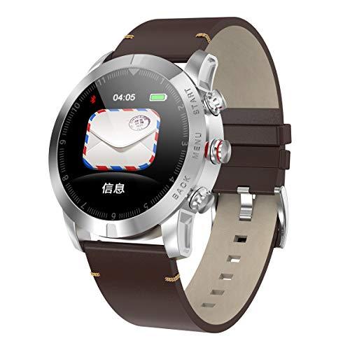 Reloj inteligente, recordatorio de información IP68 impermeable modo multideporte remoto selfie posicionamiento móvil, adecuado para mujeres de negocios, estudiantes de moda (color: cinturón plateado)